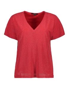 Vero Moda T-shirt VMFRANSA WIDE V-NECK TOP D2-8 10207123 Chinese Red/SILVER LUREX