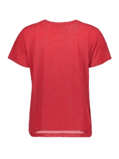vmfransa wide v-neck top d2-8 10207123 vero moda t-shirt chinese red/silver lurex