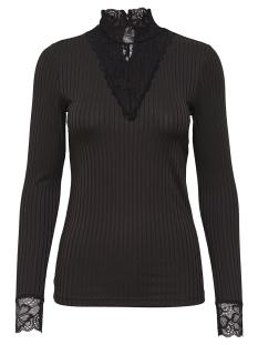 Jacqueline de Yong T-shirt JDYRINE L/S HIGH NECK TOP JRS NOOS 15166244 Black/DTM LACE