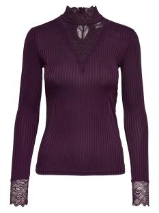 Jacqueline de Yong T-shirt JDYRINE L/S HIGH NECK TOP JRS NOOS 15166244 Potent Purple/DTM LACE
