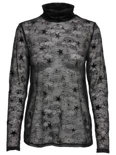 Jacqueline de Yong T-shirt JDYFLORA L/S ROLLNECK JRS 15160632 Black/DTM FLOCK