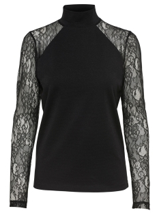 Only T-shirt onlCINDERELLA LS LACE HIGHNECK TOP 15108465 Black