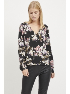 vilienna v-neck top 14051650 vila blouse black/ flower