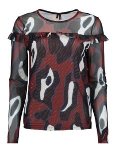Vero Moda T-shirt VMRILEY MESH L/S FRILL TOP FD18 10214957 Henna/LEONORA