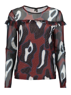 vmriley mesh l/s frill top fd18 10214957 vero moda t-shirt henna/leonora