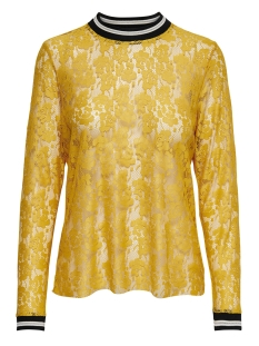 Only T-shirt onlLIA L/S LACE TOP JRS 15178702 Golden Yellow/BLACK/WHITE