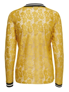 onllia l/s lace top jrs 15178702 only t-shirt golden yellow/black/white