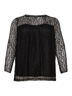 Only Carmakoma T-shirt carLEAF MESH LS TOP 15168790 Black