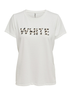 Only T-shirt onlWINNIE S/S BLACK/WHITE BLING BOX 15168463 Cloud Dancer/WHITE