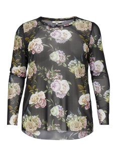 Only Carmakoma T-shirt carRIAL LS O-NECK TOP 15172916 Black/FLOWERS