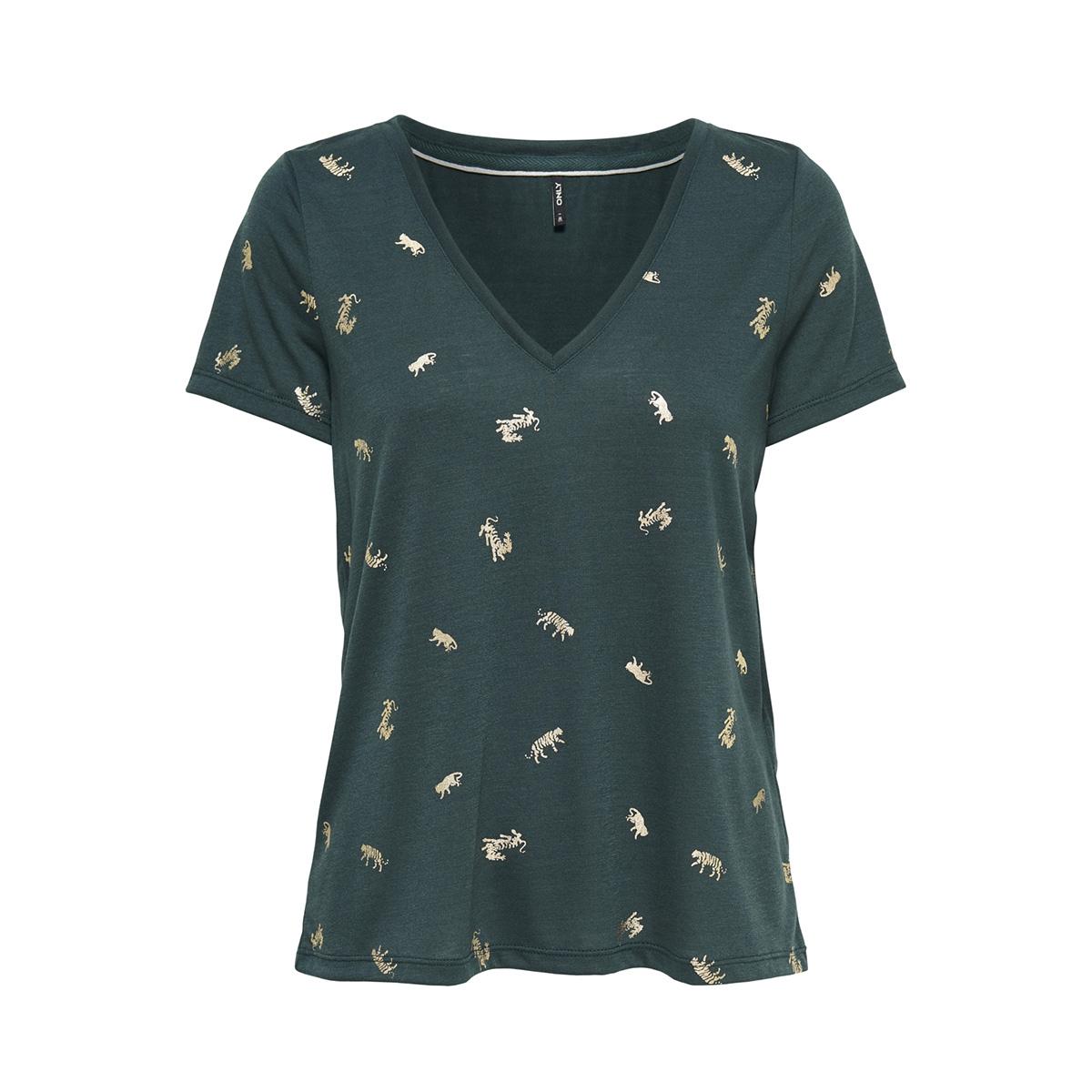 onlisabella s/s sensei aop box jrs 15168498 only t-shirt green gables/ tigers