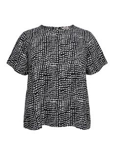 carbrooke dot ss top 15172914 only carmakoma t-shirt black/cloud dancer