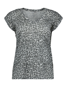 Only T-shirt onlSILVERY LEO S/S V NECK LUREX TOP NOOS 15176145 Silver/LEOPARD