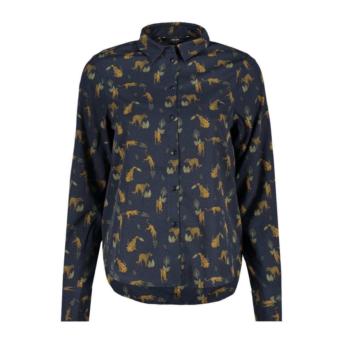 vmnicky l/s shirt d2-1 10193878 vero moda blouse night sky/leopard an