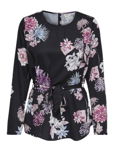 jdyhilda l/s belt blouse wvn 15168394 jacqueline de yong blouse black/large flower