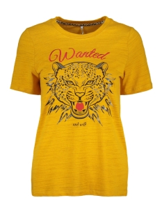 Only T-shirt onlKINDRA S/S WANTED TOP BOX JRS 15168493 Golden Yellow/TIGER