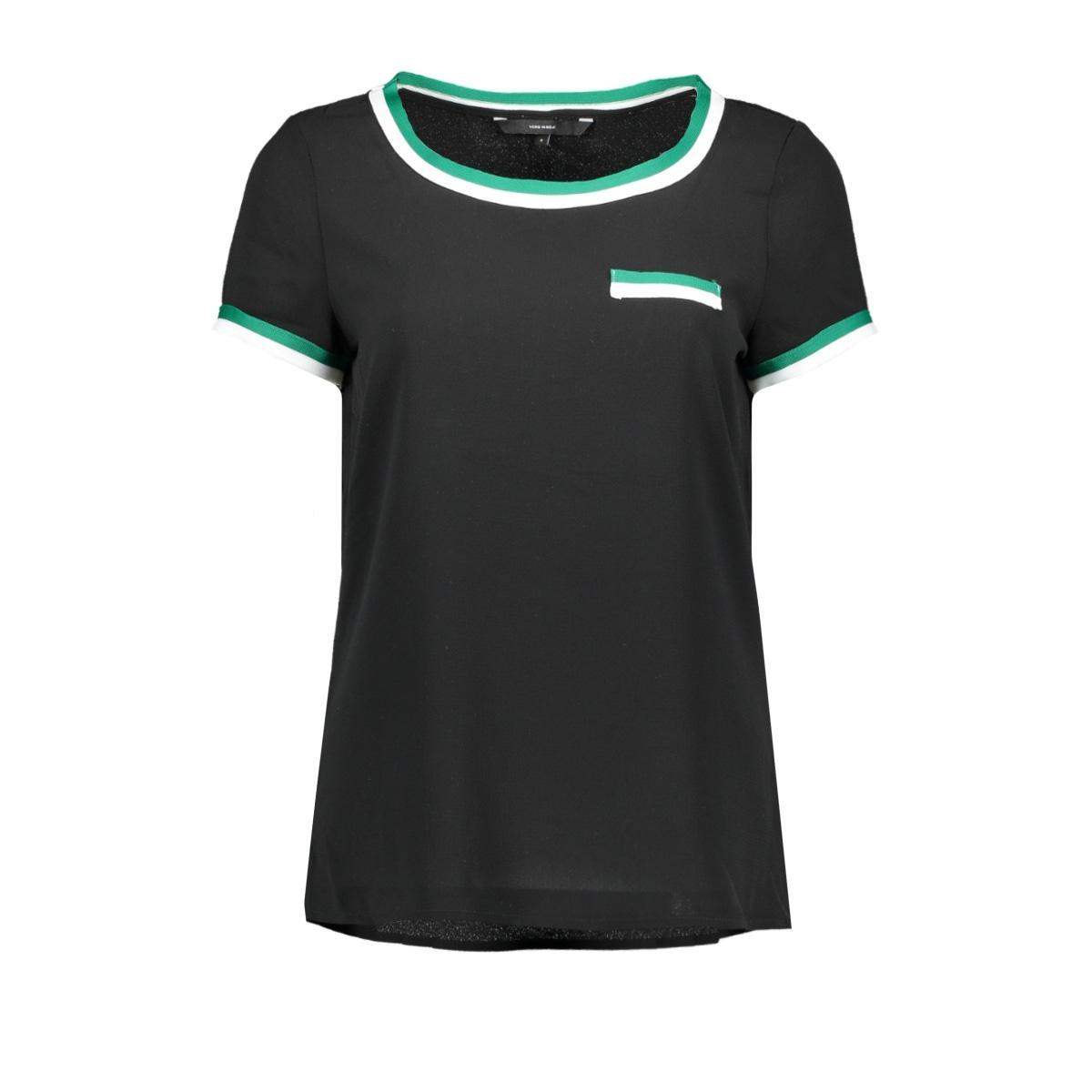 vmsasha ss panel top 10216853 vero moda t-shirt black/alpine green