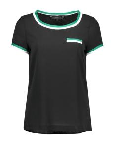 Vero Moda T-shirt VMSASHA SS PANEL TOP 10216853 Black/ALPINE GREEN