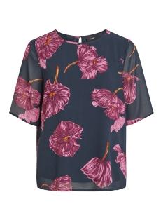 Object T-shirt OBJMARQUITA 2/4 TOP A AU 23029007 Sky Captain/FLORAL