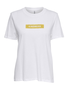 Only T-shirt onlWORD S/S PRINT TOP BOX JRS 15168490 Bright White/KINDNESS1