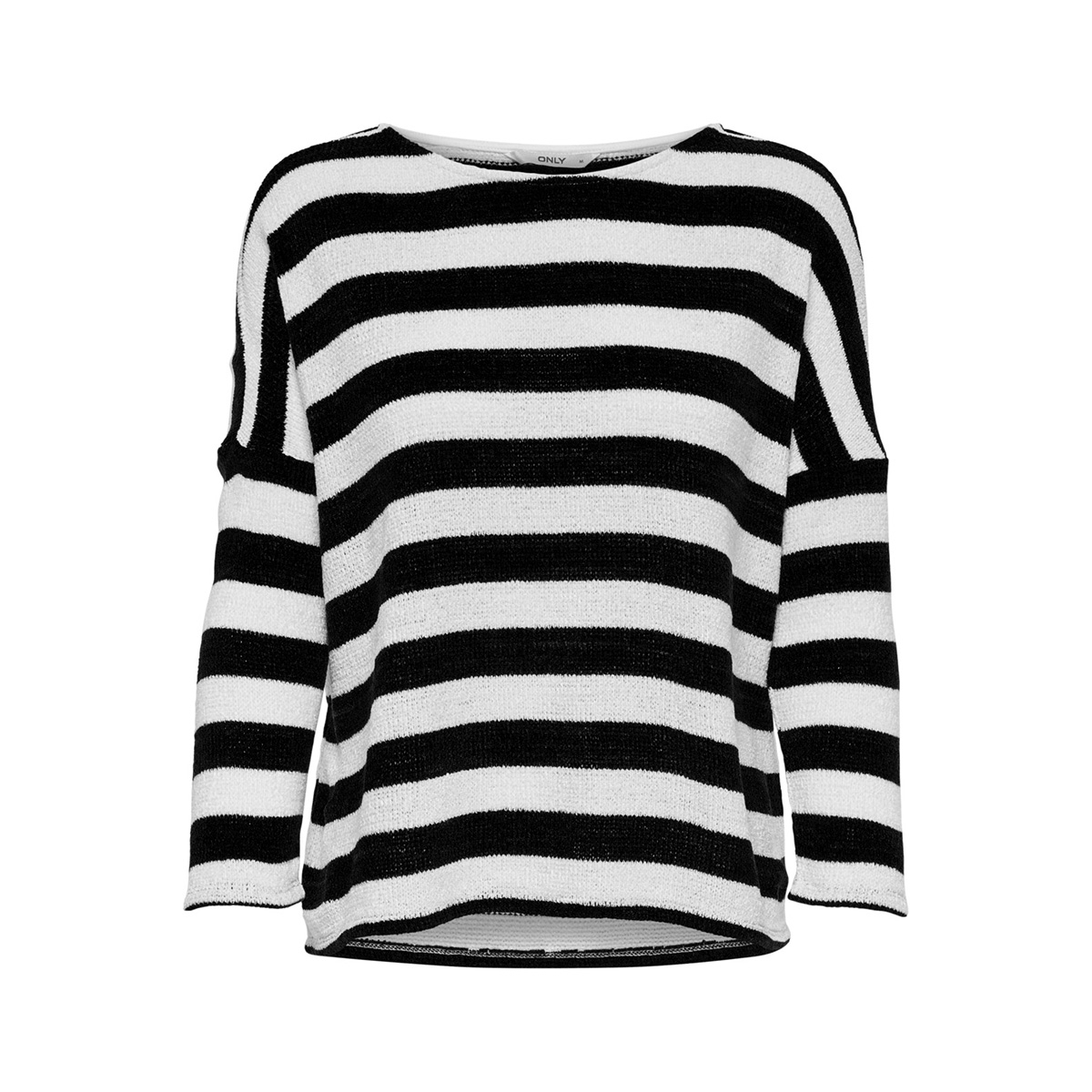 onlstar stripe l/s top box jrs 15168418 only trui cloud dancer/black