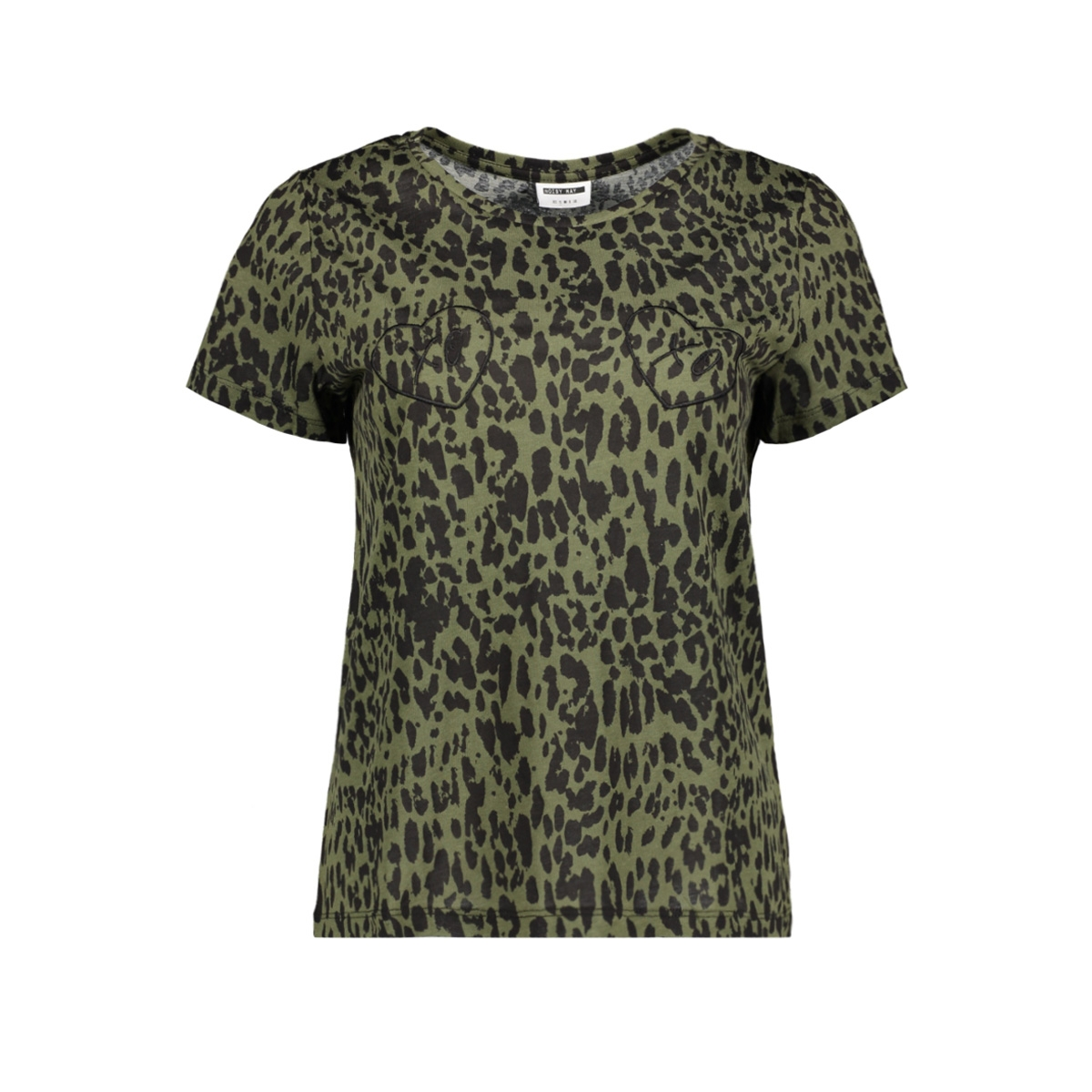 nmxo s/s top x 27007511 noisy may t-shirt olive night/green leopard