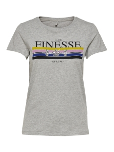 onlkita s/s new/fab/finesse top box 15168483 only t-shirt light grey melange/finesse1