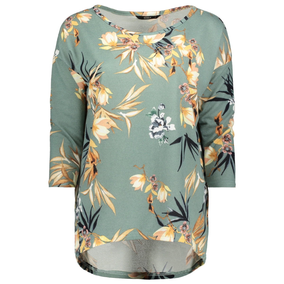 onlelcos 4/5 aop top jrs noos 15144286 only t-shirt chinois green/flowers co