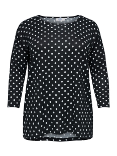Only Carmakoma T-shirt carALBA 3/4 TOP 119 15174819 Black/WHITE DOTS