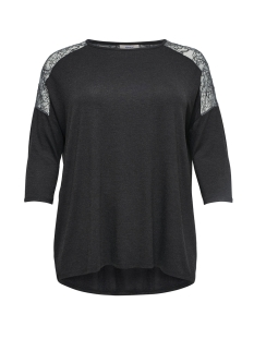 carcarma 3/4 lace top 15164191 only carmakoma t-shirt dark grey melange/black lace
