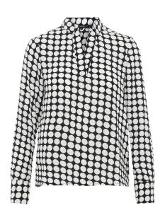 vmsarah dot l/s midi top d2-1 wvn 10210148 vero moda blouse black/snow white