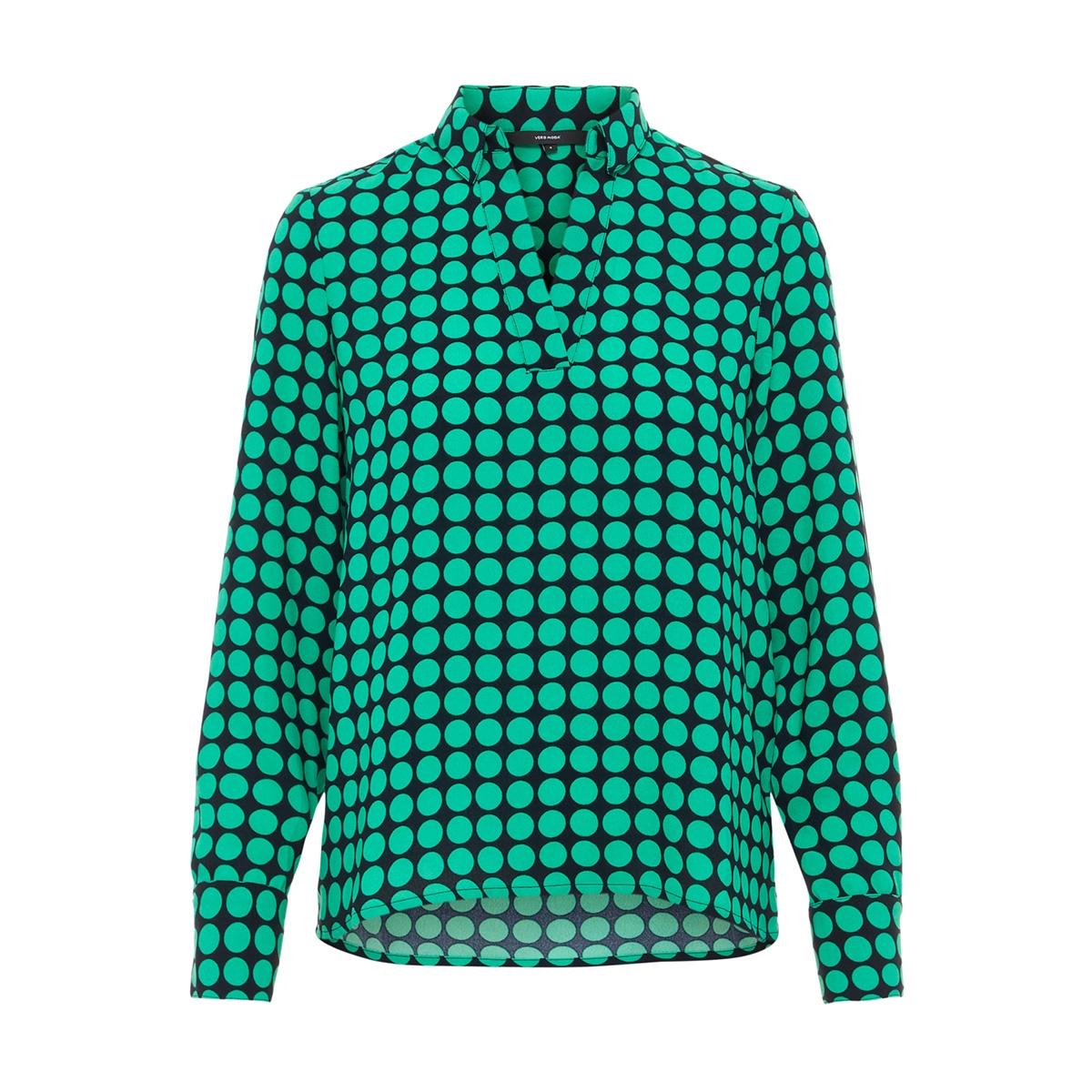 vmsarah dot l/s midi top d2-1 wvn 10210148 vero moda blouse night sky/holly green