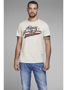 jjelogo tee ss crew neck 2 col ss19 noos 12147765 jack & jones t-shirt white melange/slim fit