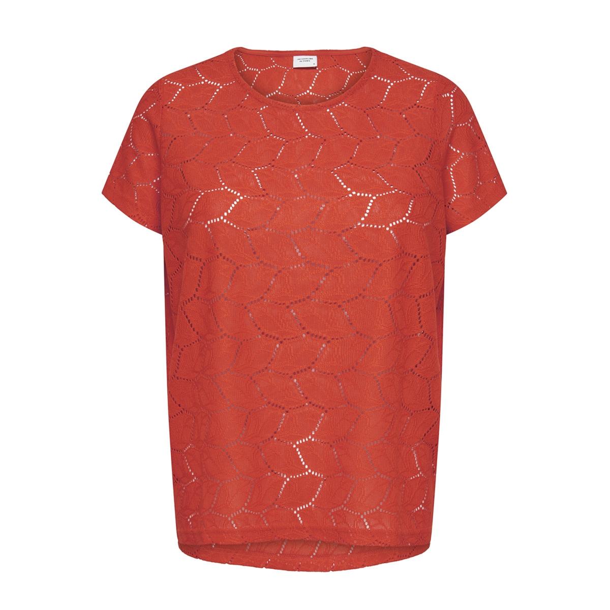 jdytag s/s lace top jrs rpt2 noos 15152331 jacqueline de yong t-shirt fiery red