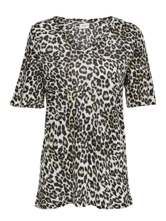 Jacqueline de Yong T-shirt JDYMILLE S/S TOP JRS 15182019 Cloud Dancer/LEOPARD