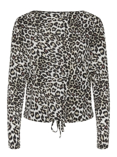 Jacqueline de Yong T-shirt JDYMILLE L/S DETAIL TOP JRS 15182023 Cloud Dancer/LEOPARD
