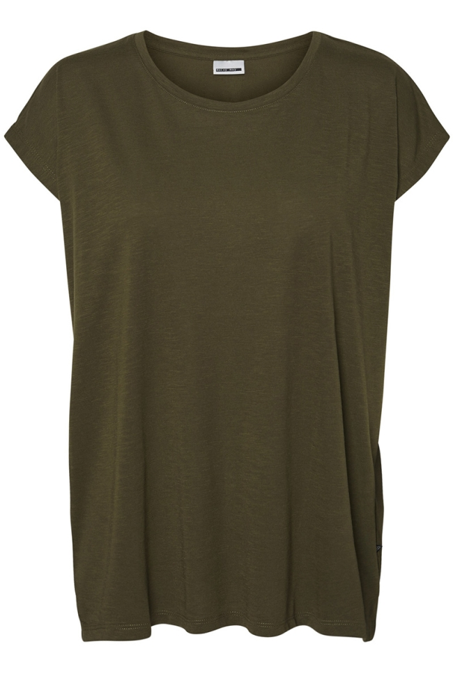 nmmathilde s/s loose long top noos 27002573 noisy may t-shirt olive night