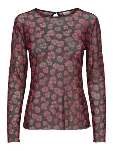 Jacqueline de Yong T-shirt JDYANN L/S TOP JRS 15169298 Black/POPPY