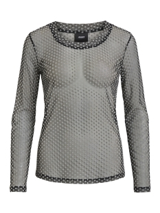 Object T-shirt OBJLOUIS JERSEY L/S O-NECK TOP 101 23028699 Black/DOTS