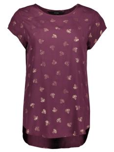 Vero Moda T-shirt VMBOCA SS BLOUSE FOIL AOP PRINT 10178397 Winetasting/ROSE GOLD