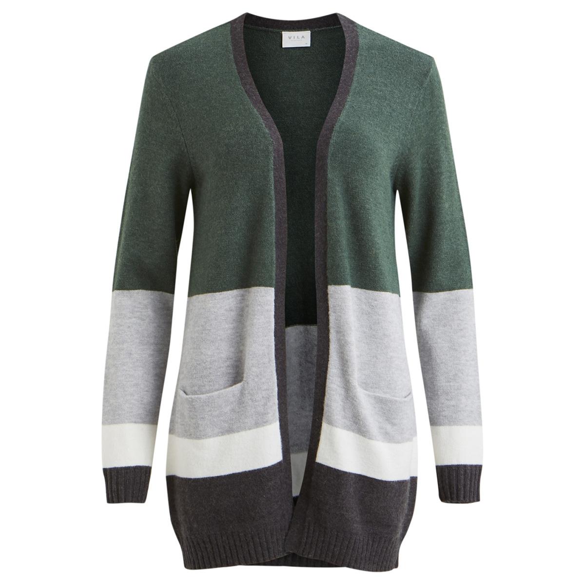 viril l/s stripe open knit cardigan 14052645 vila vest topiary/lgm/cloud