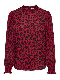 Jacqueline de Yong T-shirt JDYBASE MILO L/S FRILL TOP WVN 15179435 Salsa/MILO LEO
