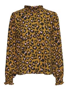 Jacqueline de Yong T-shirt JDYBASE MILO L/S FRILL TOP WVN 15179435 Golden Brown/MILO LEO