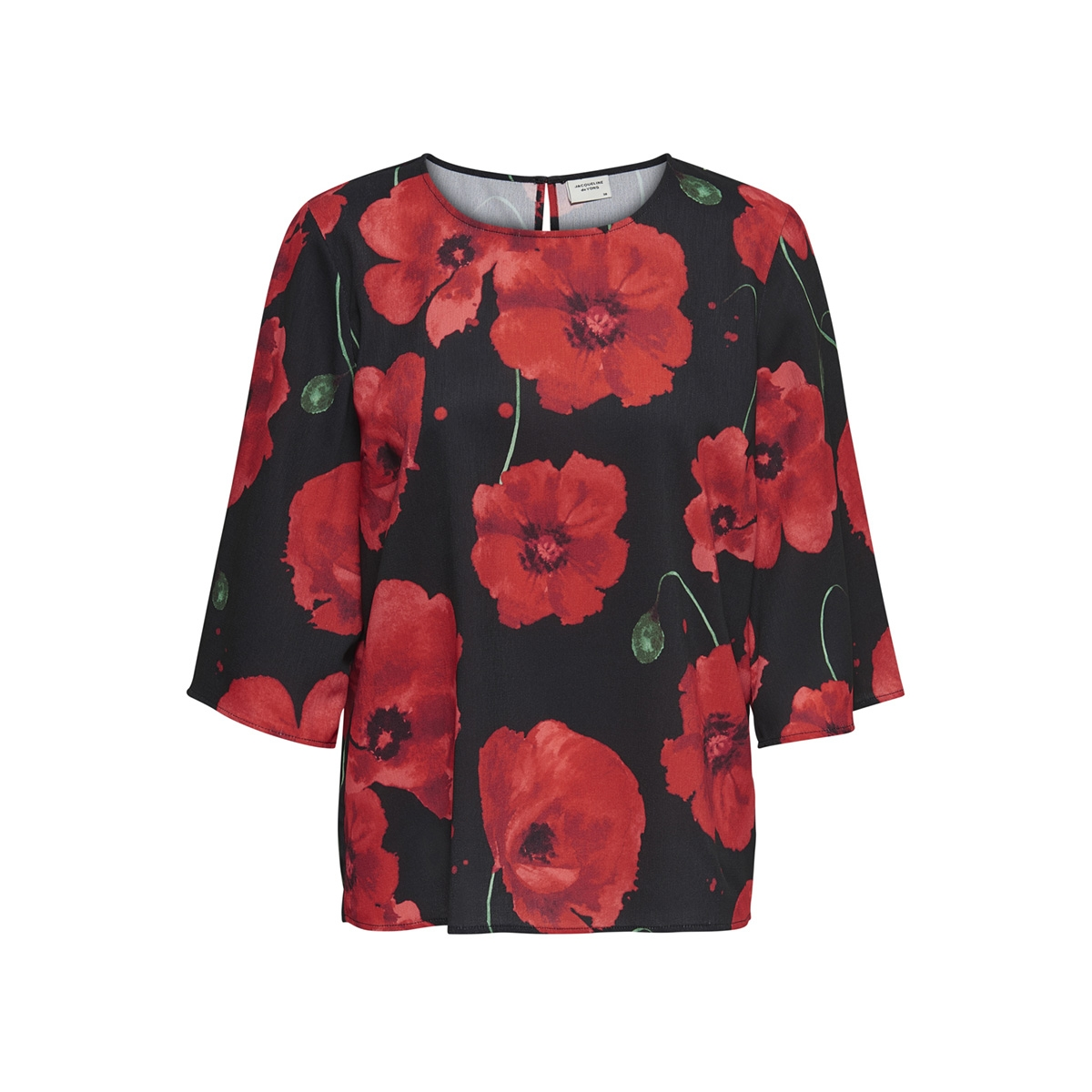 jdyindie 3/4 top wvn 15169581 jacqueline de yong t-shirt black/firey red