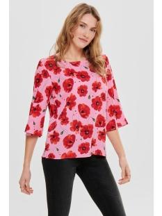 jdyindie 3/4 top wvn 15169581 jacqueline de yong t-shirt rosebloom/firey red
