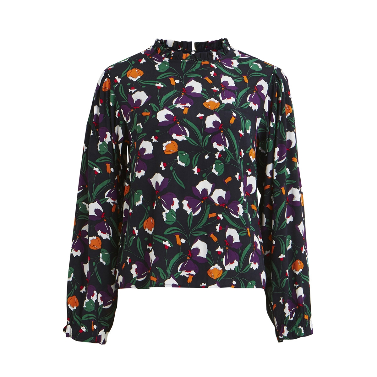 objmary-lee l/s high neck top a wi 23029634 object blouse sky captain/floral aop