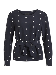 Object Blouse OBJAIDEEN L/S BOAT NECK TOP A PS 23029999 Sky Captain/WHITE DOTS