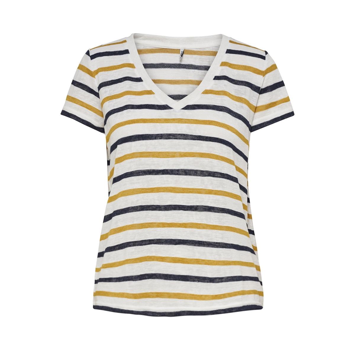onldina  s/s deep v-neck  top jrs 15174622 only t-shirt cloud dancer/mango moji
