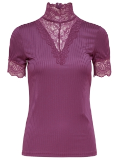 Jacqueline de Yong T-shirt JDYRINE 2/4 HIGHNECK TOP JRS NOOS 15171895 Vivid Viola/DTM LACE A
