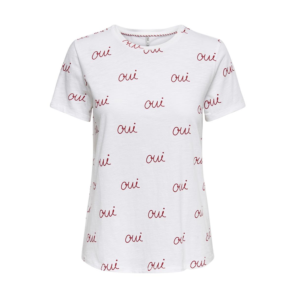 onlbone reg s/s love box co/sl jrs 15173709 only t-shirt bright white/qui(mars